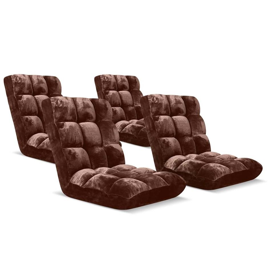 SOGA Floor Recliner Folding Lounge Sofa Folding Chair Cushion Coffee x4