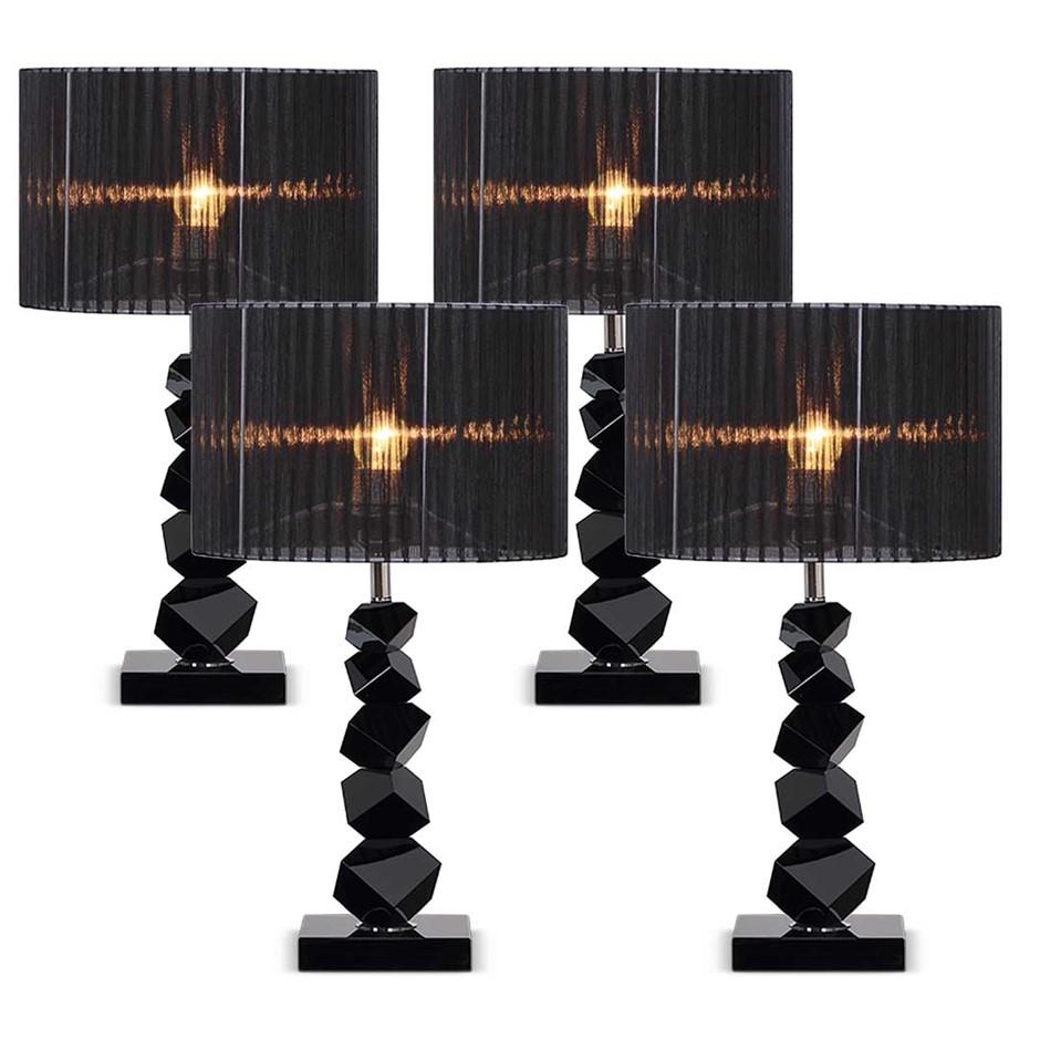 SOGA 4X 55cm Black Table Lamp with Dark Shade LED Desk Lamp