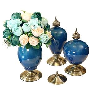 SOGA 3x Ceramic Oval Flower Vase with Bl