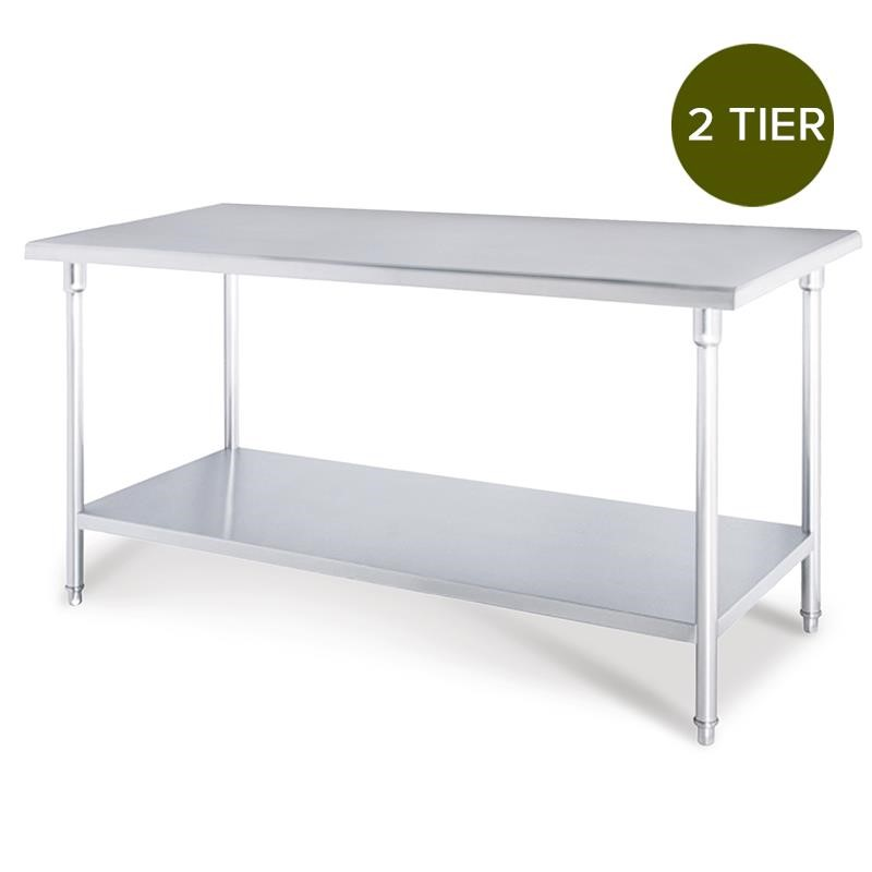 SOGA 2-Tier Commercial Kitchen S/S Prep Work Bench Table 150*70*85cm