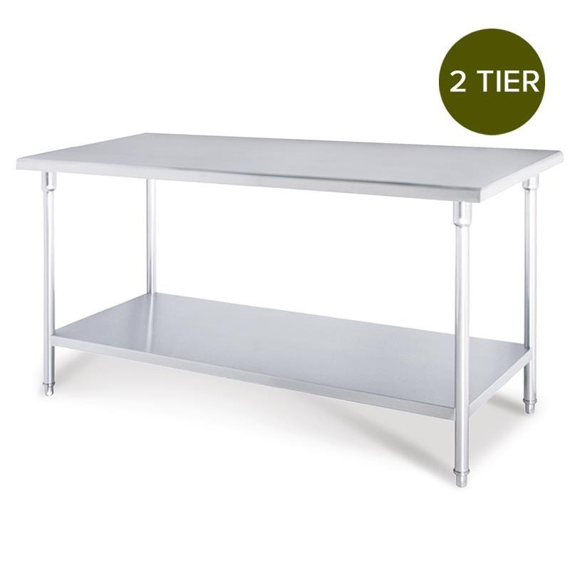 SOGA 2-Tier Commercial Kitchen S/S Prep Work Bench Table 150*70*85cm
