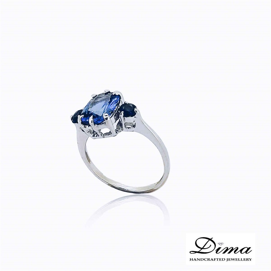 18ct White Gold, 2.32ct Tanzanite and Blue Sapphire Ring