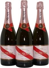 G.H.Mumm Brut Rose Champagne NV (3x 750mL), Champagne. Cork.