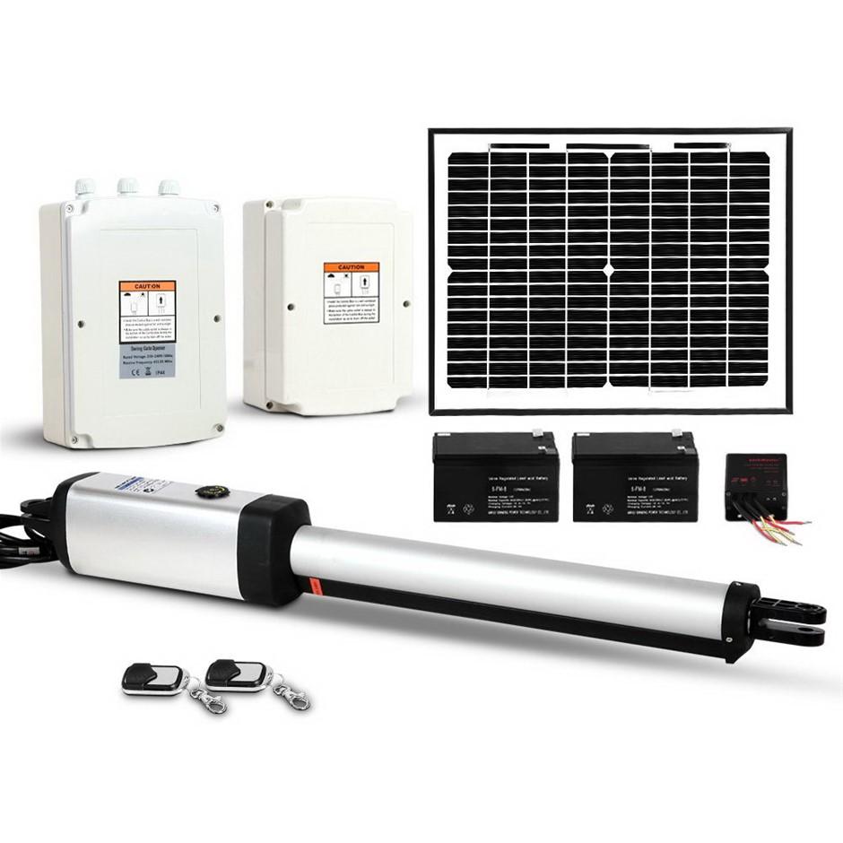 Giantz Auto Solar Powered Swing Gate Opener Kit 2 x Remote 600kg 4.5M