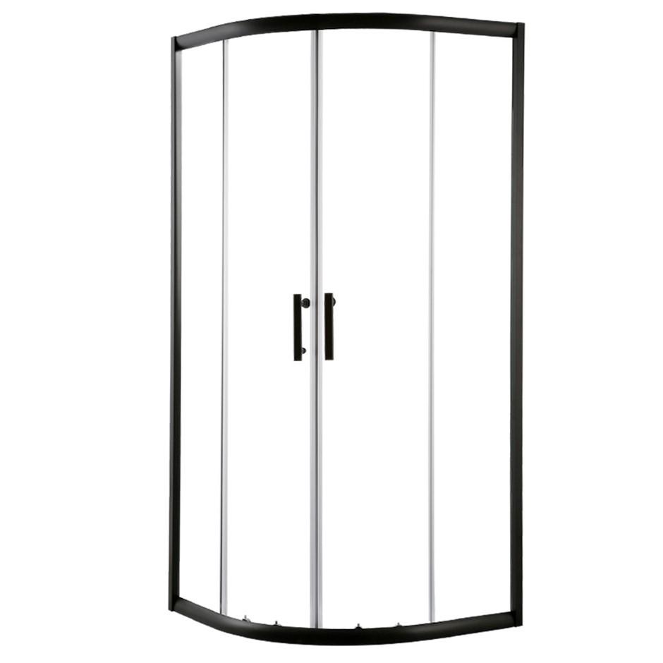 Cefito Shower Screen Curved Bathroom Glass Sliding Door Black 900x900mm