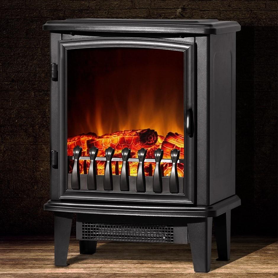 Devanti Electric Fireplace Wood Heater Portable Fire Log 1800W