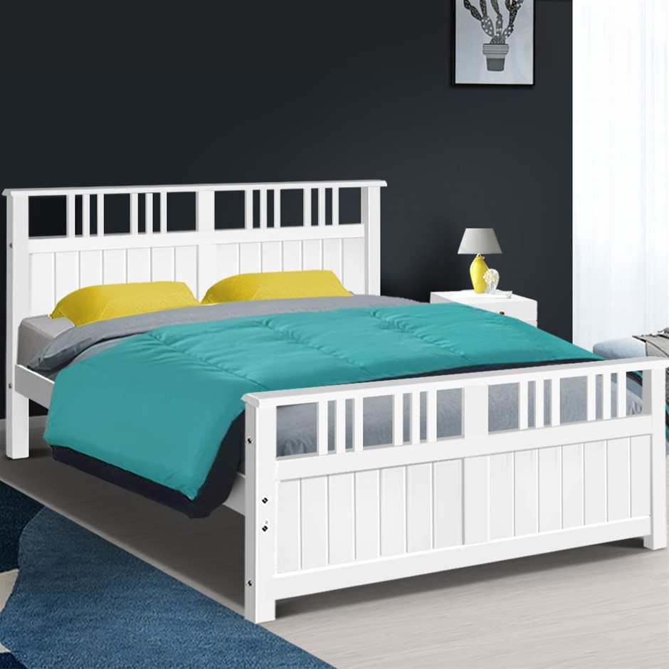 Artiss Wooden Bed Frame Queen Size Timber Kids Adults Mattress Bed Base EVA