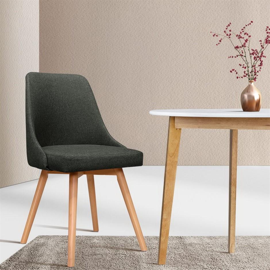 Artiss 2x Replica Dining Chairs Beech Wooden Kitchen Fabric Charcoal