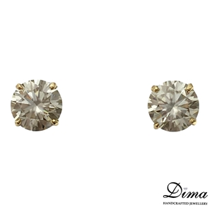 18ct Yellow Gold, 3.52ct Moissanite Earr