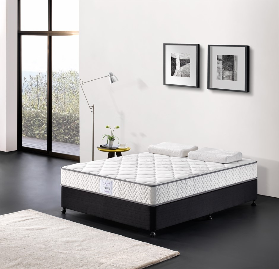 Breeze Single Mattress Bed Pocket Spring Comfort Firm 24cm High Density
