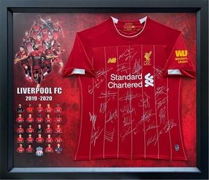 Liverpool FC 2019-2020 Squad Hand Signed Shirt Framed Auction (0047-2180451) | GraysOnline Australia