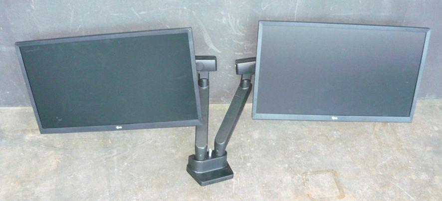 "2 x LG 24MK430H-B 24"" Full HD IPS LED Monitors With Dual Desk Arm Stand"