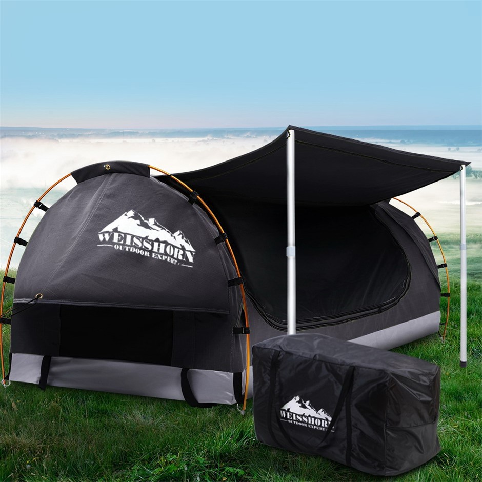 Weisshorn Double Swag Camping Canvas Dome Tent Dark Grey w/ 7CM Mattress