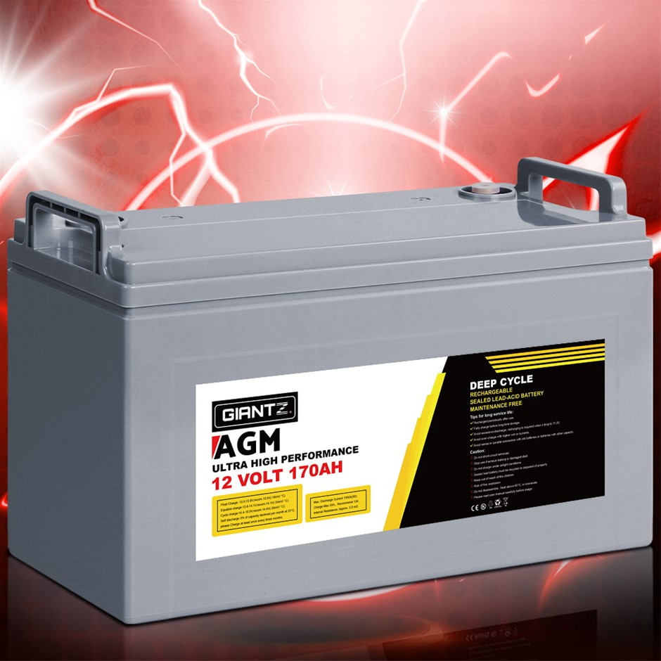 Giantz 170Ah Deep Cycle Battery 12V AGM Power Portable Box Solar Caravan