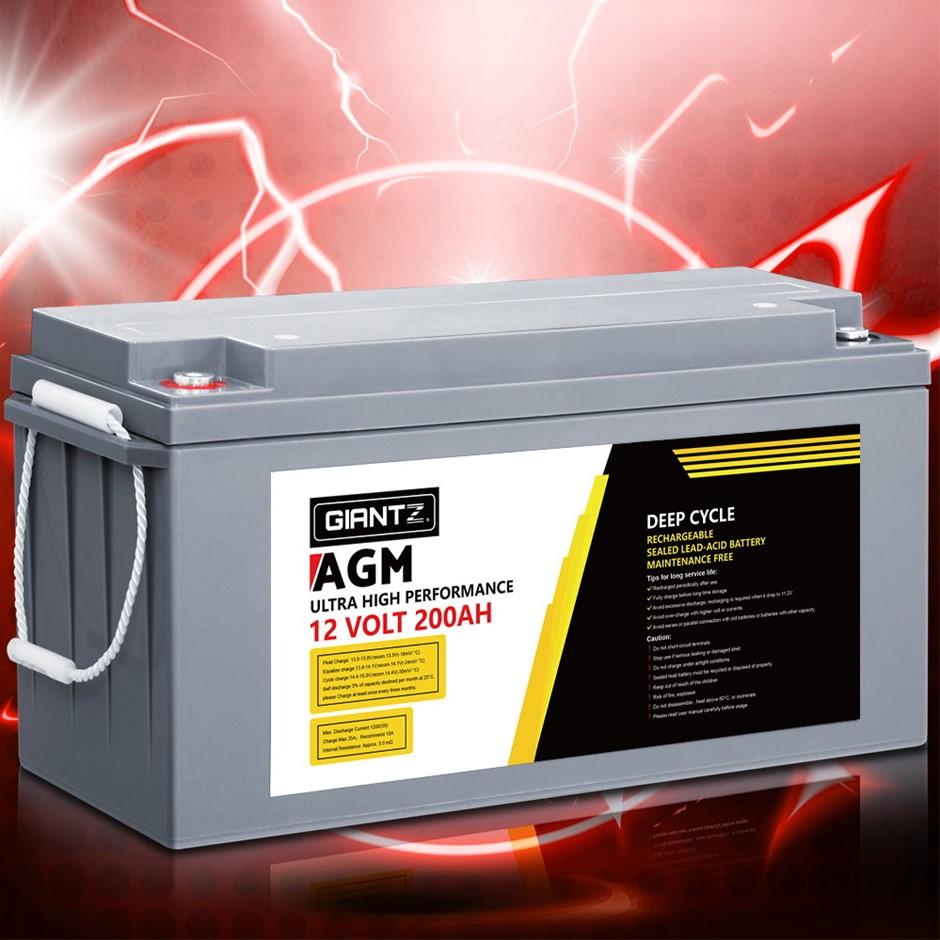 Giantz 200Ah Deep Cycle Battery 12V AGM Power Portable Box Solar Caravan