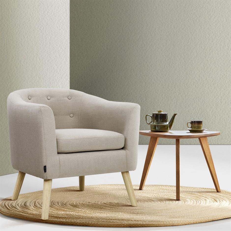 Artiss ADORA Armchair Tub Chair Single Accent Armchairs Sofa Lounge Beige