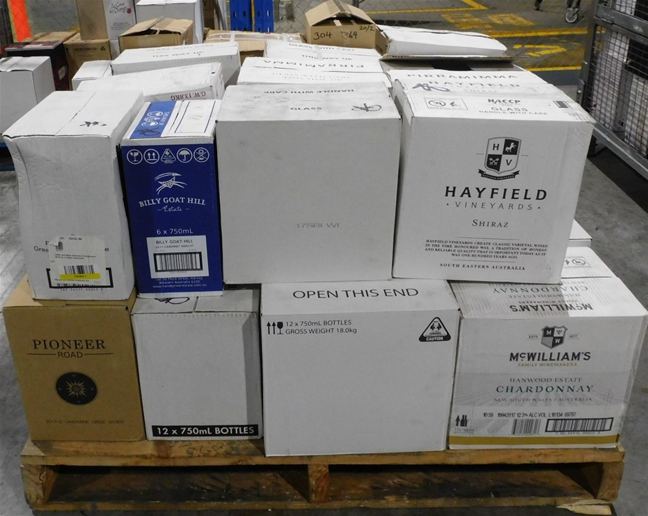 Pick Up Only A Mixed Pallet of Wine - Approx 30 Assorted Cartons of Wine