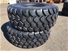 Qty of 2 x Unused 23.5R25 Radial Earthmoving Tyres