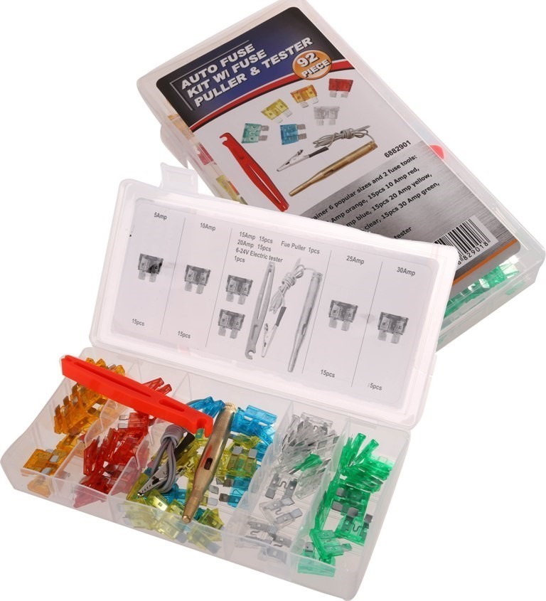 Auto Fuse Kit 92pc c/w Fuse Puller & Tester, Contents: Refer Image. Buyers