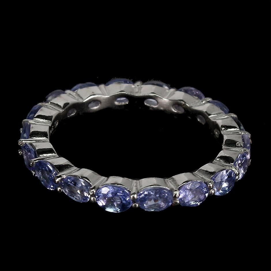 Striking Genuine Tanzanite Eternity Band Ring.