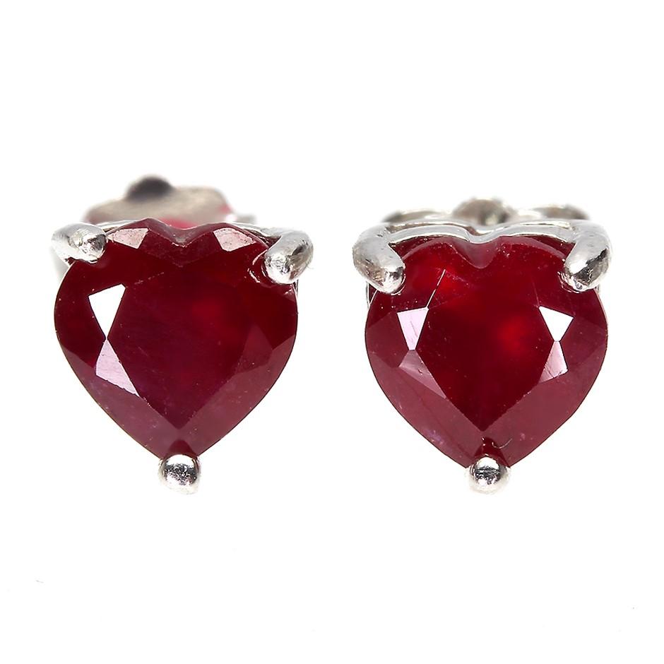 Dynamic Genuine Blood Red Ruby Heart Stud Earrings.