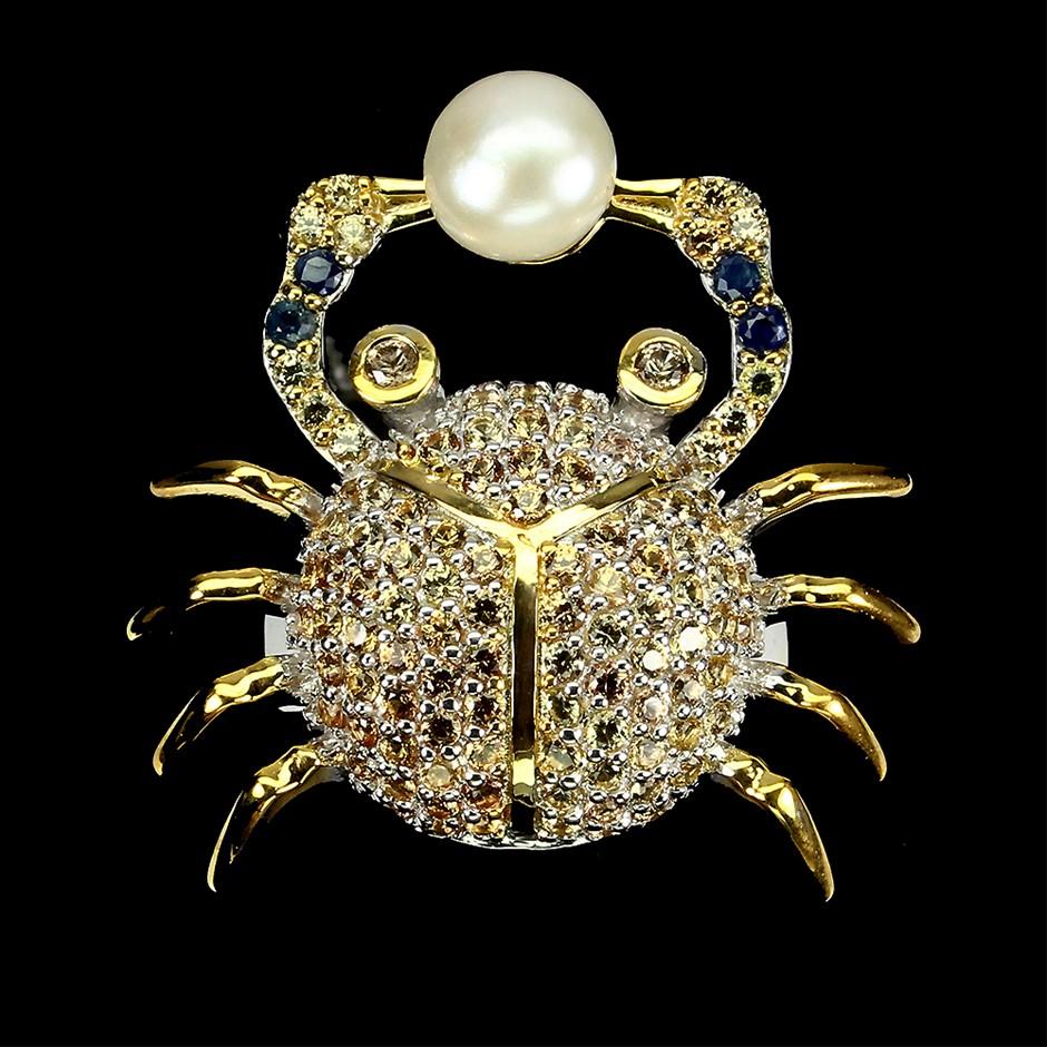 Amazingly Unique Genuine Sapphire & Pearl Crab Ring