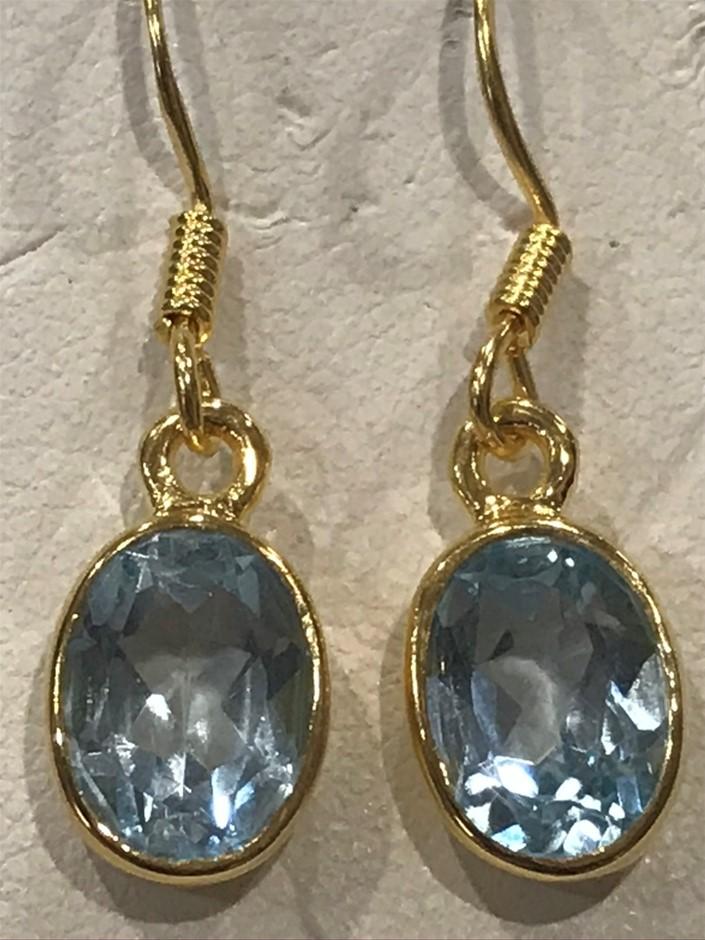 Stunning Genuine 2.50ct Blue Topaz & 18K Yellow/ Gold Vermeil Earrings