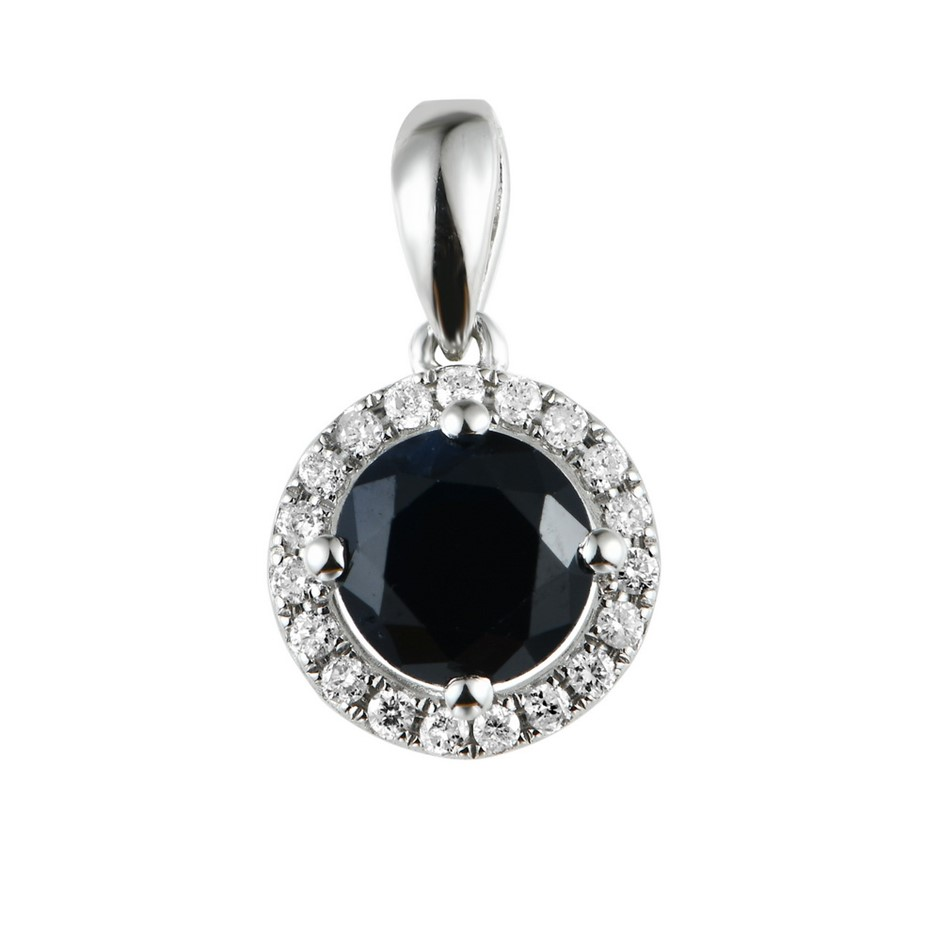 9ct White Gold, 1.35ct Blue Sapphire and Diamond Pendant