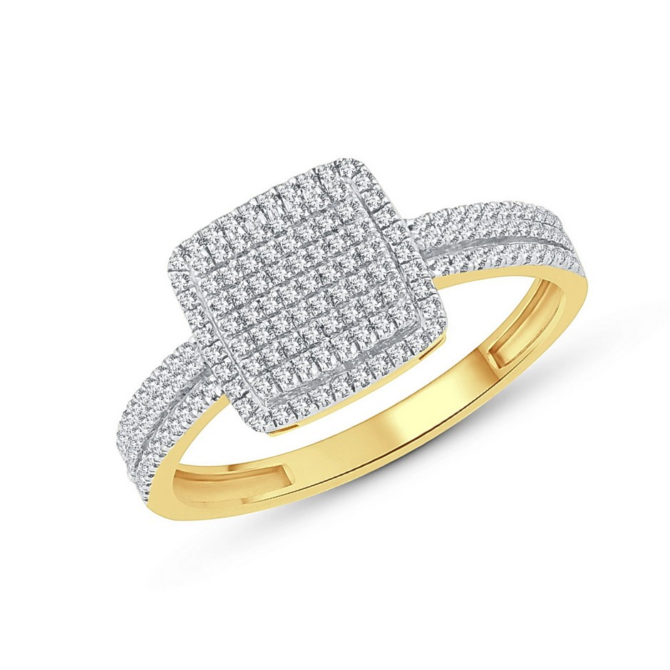 9ct Yellow Gold, 0.20ct Diamond Ring