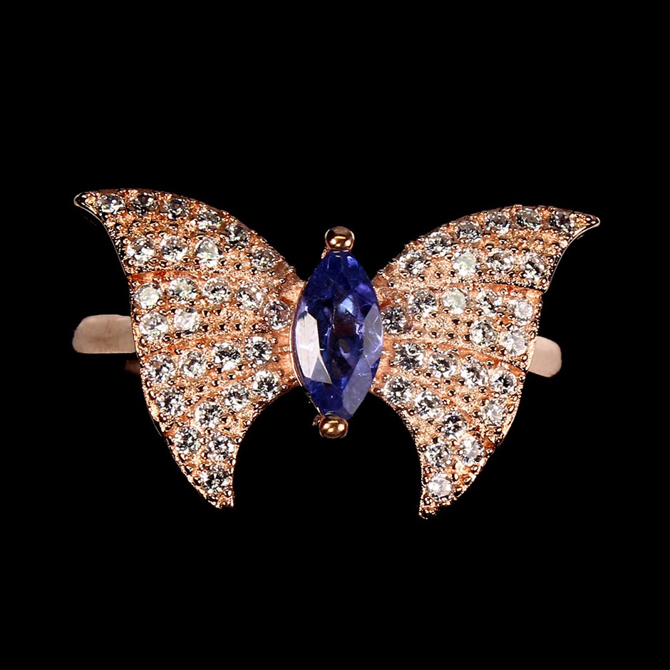 Delightful Genuine Tanzanite Butterfly Ring
