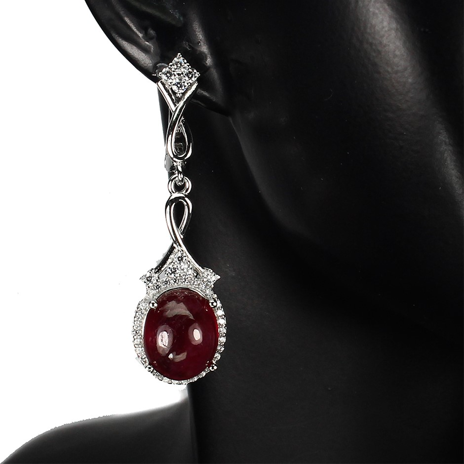 Striking Genuine Ruby Drop Earrings