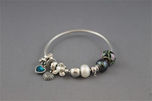 Stamped Silver Pandora Bangle & Charms