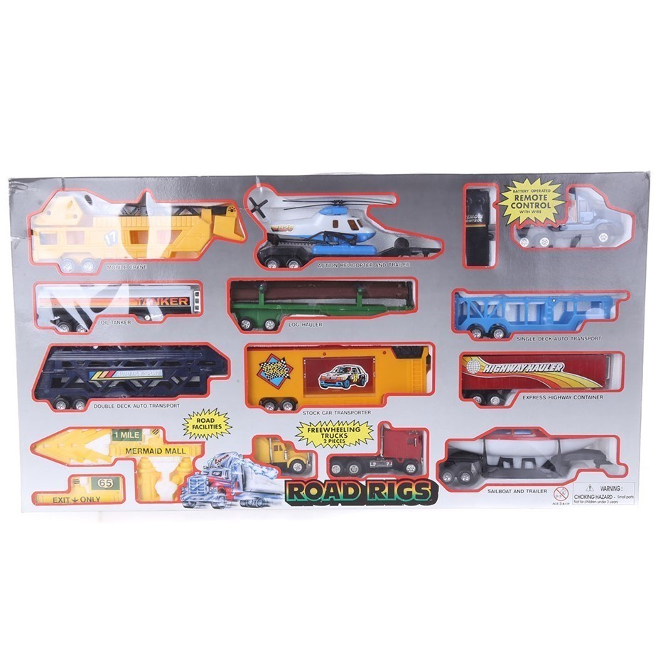 Road Rigs 13pc Toy Set, Battery Operated with Remoted Control. (SN:ZFG00014