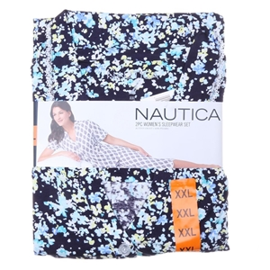 NAUTICA Women`s 2pc Button- Front Capri