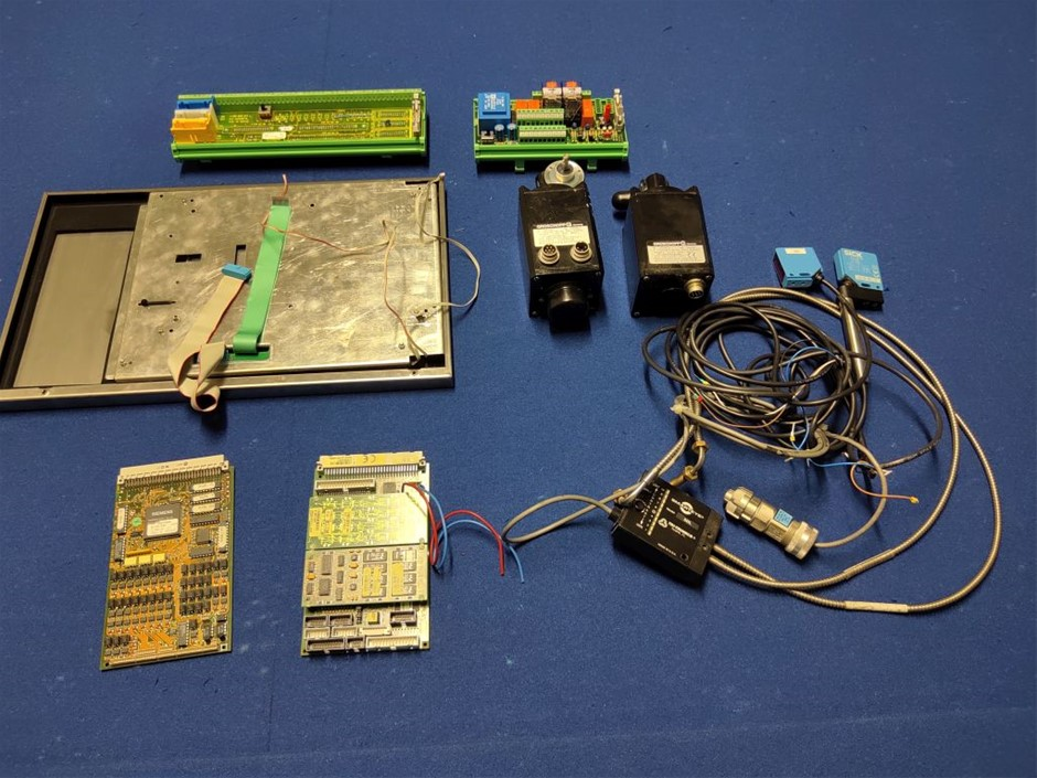 Quantity of industrial components Including laser sensors, motor