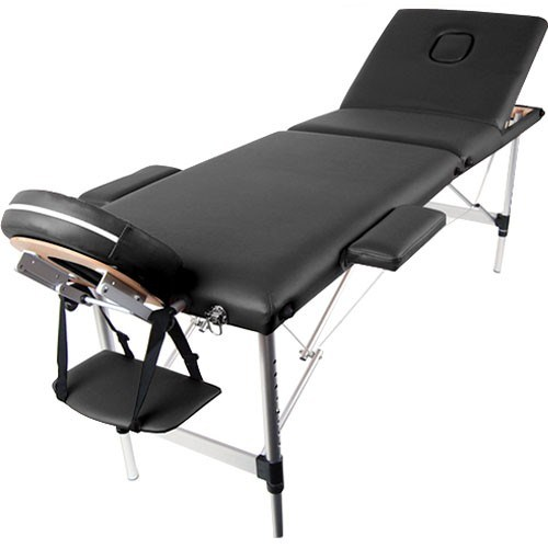 Portable Aluminium 3 Fold Massage Table Chair Bed Black 70cm
