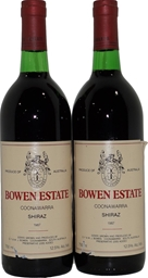 Bowen Estate Coonawarra Shiraz 1987 (2x 750mL), SA. Cork.