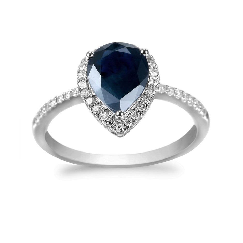 9ct White Gold 1.99ct Diamond and Blue Sapphire Ring