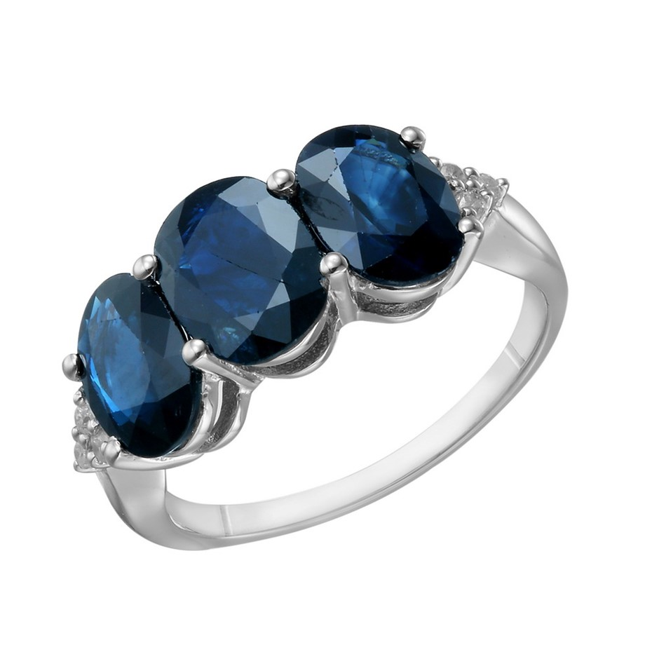 9ct White Gold, 4.89ct Blue Sapphire & Diamond Ring