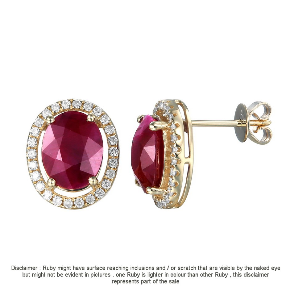 9ct Yellow Gold, 2.84ct Ruby and Diamond Earring