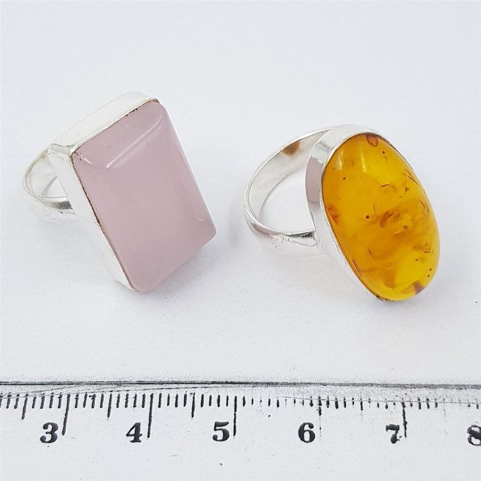 Two Sterling Silver Gemstone Rings