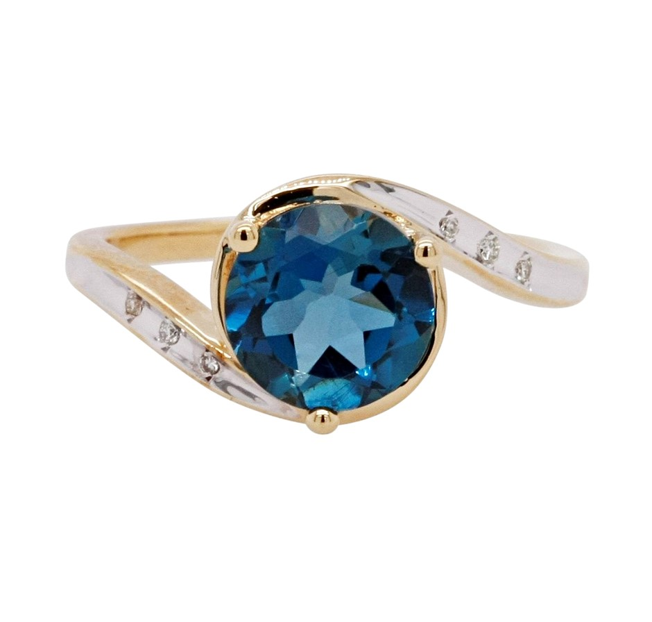 Ladies London Blue Topaz & Diamond Gold Vermeil Dress Ring