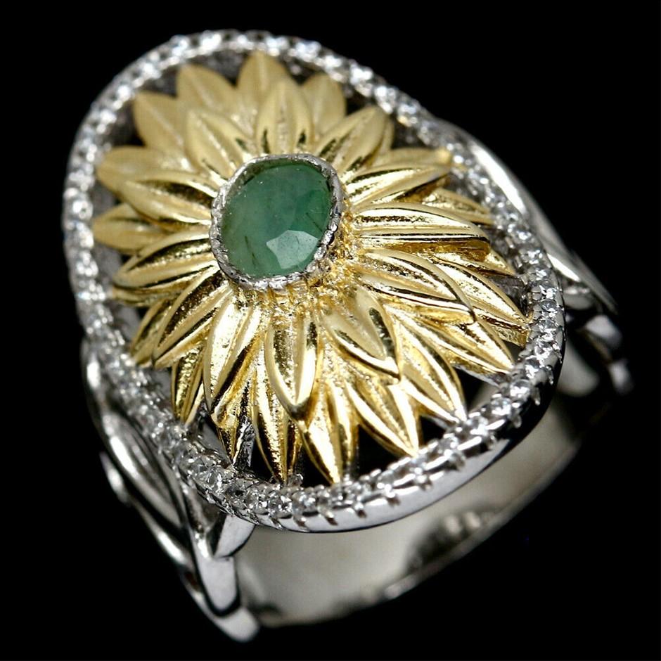 Unique Genuine Emerald Statement Ring