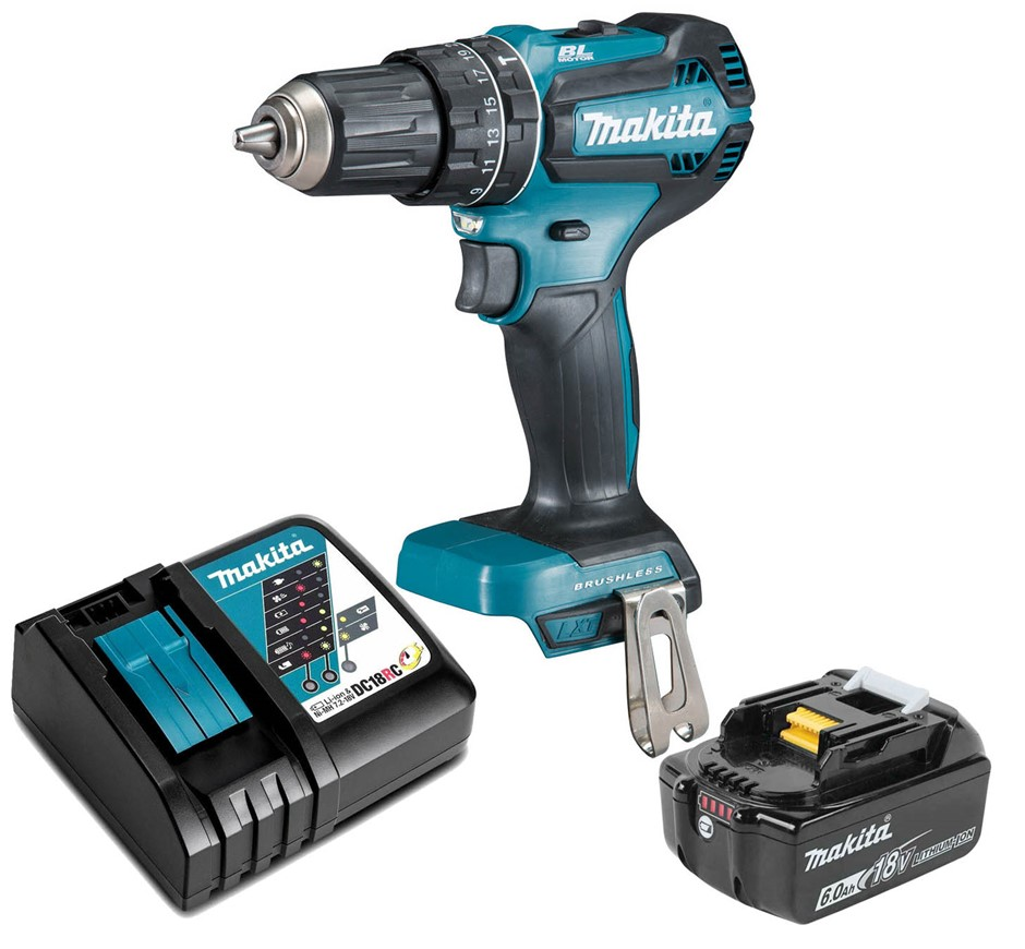 MAKITA 18V Brushless Hammer Drill Driver Kit c/w 3.0Ah Battery & Charger in