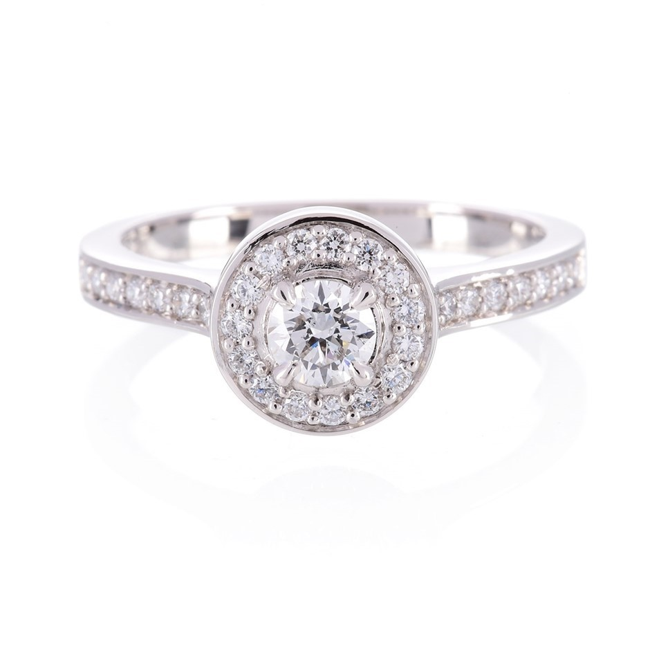 ERV $5425 - Platinum Halo style round brilliant cut diamond ring TDW=0.60ct