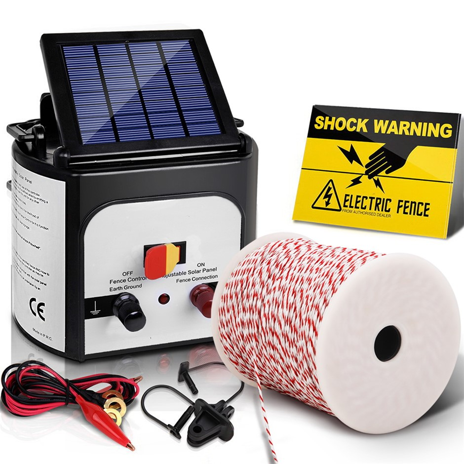Giantz 8km Solar Electric Fence Energiser 0.3J Charger Poly Wire 500M