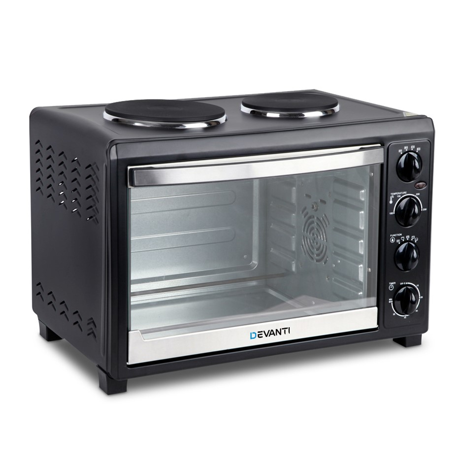 Devanti 5 Star Chef 45L Convection Oven with Hotplates - Black