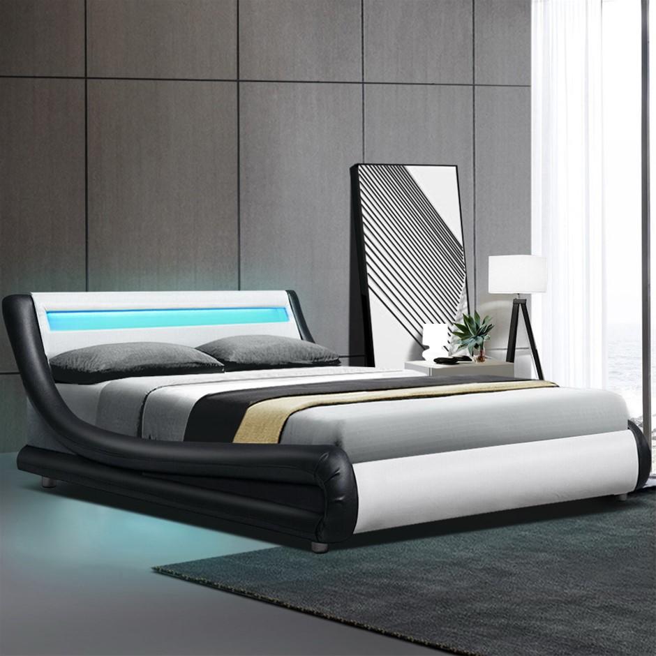Artiss LED Bed Frame Double Base Mattress Platform Leather Wooden