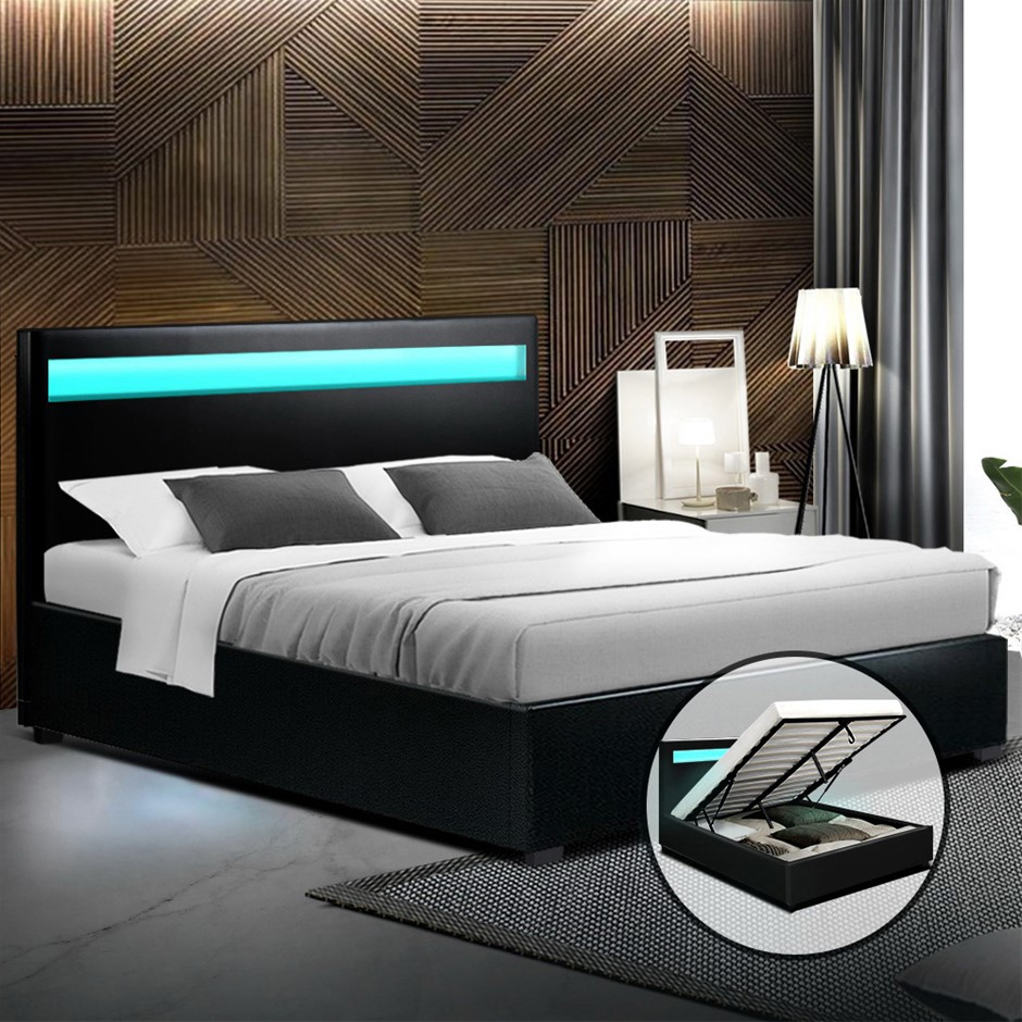 Artiss LED Bed Frame Double Size Gas Lift Base With Storage Black Leather