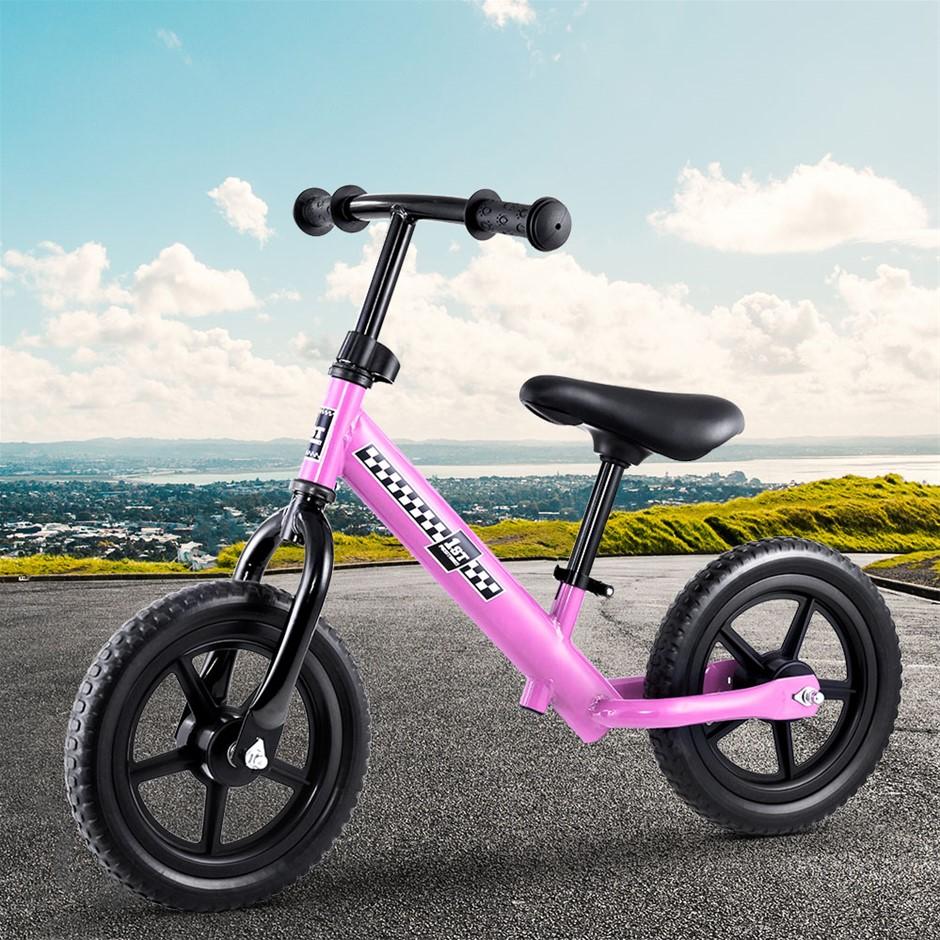 """Kids Balance Bike Ride On Toys Bicycle Wheels Toddler Baby 12"""" Bikes Pink"""